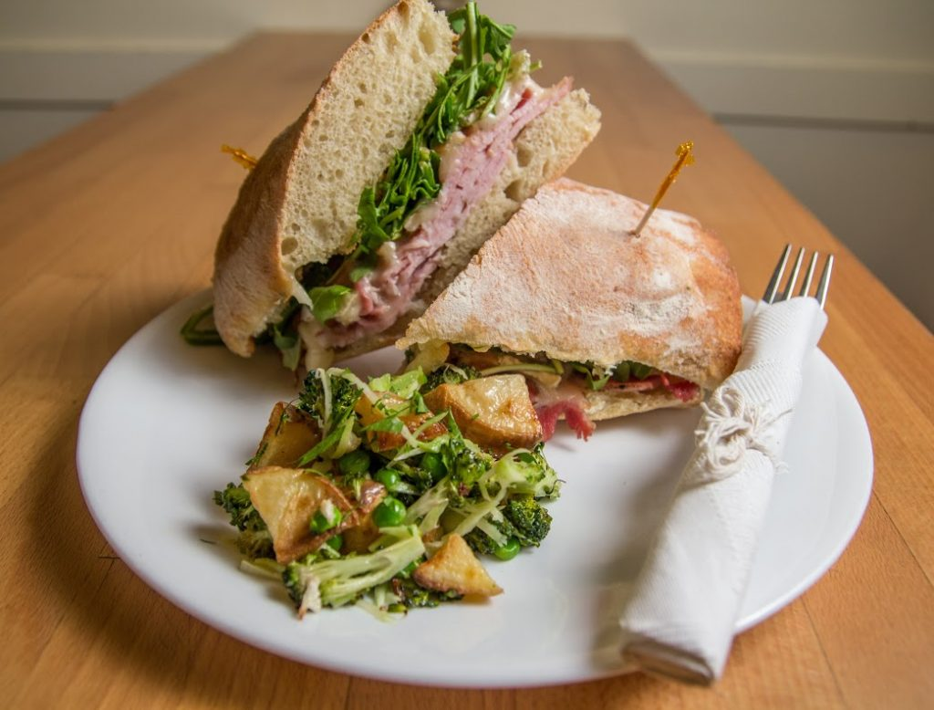 The Frenchie sandwich at Harried & Hungry, with Pepper Crusted Brined Pork Loin, Double Cream Brie, Apple Butter, Arugula on freshly baked Ciabatta baguette. Photo credit: Marketeering Group.